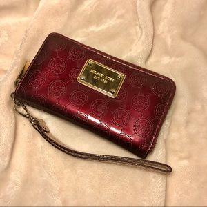 Michael Kors Maroon Leather Wristlet
